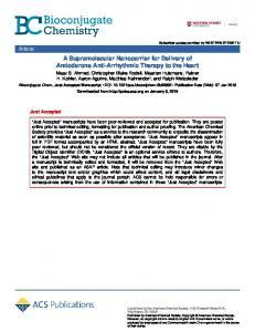 A Supramolecular Nanocarrier for Delivery of Amiodarone Anti