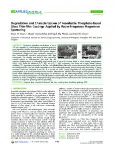 Degradation and Characterization of Resorbable Phosphate-Based