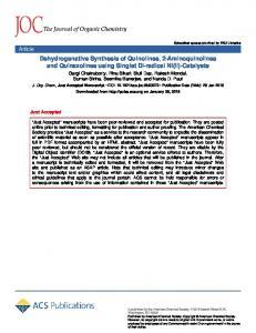 Dehydrogenative Synthesis of Quinolines, 2-Aminoquinolines and