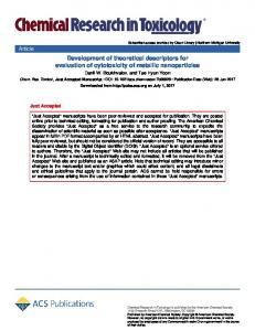 Development of Theoretical Descriptors for Cytotoxicity
