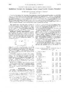 Equilibrium Constants for Pyridinium Iodide ... - ACS Publications