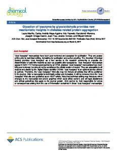 Glycation of Lysozyme by Glycolaldehyde Provides ... - ACS Publications