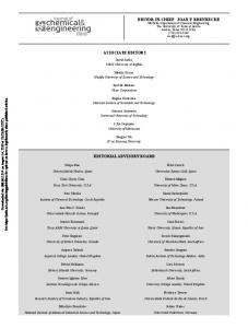 Issue Editorial Masthead | Journal of Chemical & Engineering Data