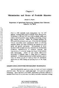 Minimization and Reuse of Pesticide Rinsates - ACS Symposium
