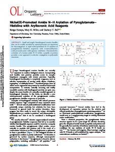 Nickel(II)-Promoted Amide N–H Arylation of Pyroglutamate–Histidine