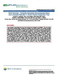 Novel Cellulose–Halloysite Hemostatic Nanocomposite Fibers with a