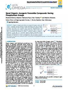 Novel Organic–Inorganic Perovskite Compounds Having