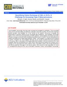 Quantifying Cation Exchange of Cd2+ in ZnTe: A ... - ACS Publications