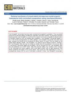 Rational Synthesis of Mixed-Metal Microporous Metal–Organic