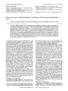 Structure-Activity Relationships for Antidotes to Thiocarbamate