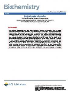 Synthetic Pattern Formation - Biochemistry (ACS Publications)